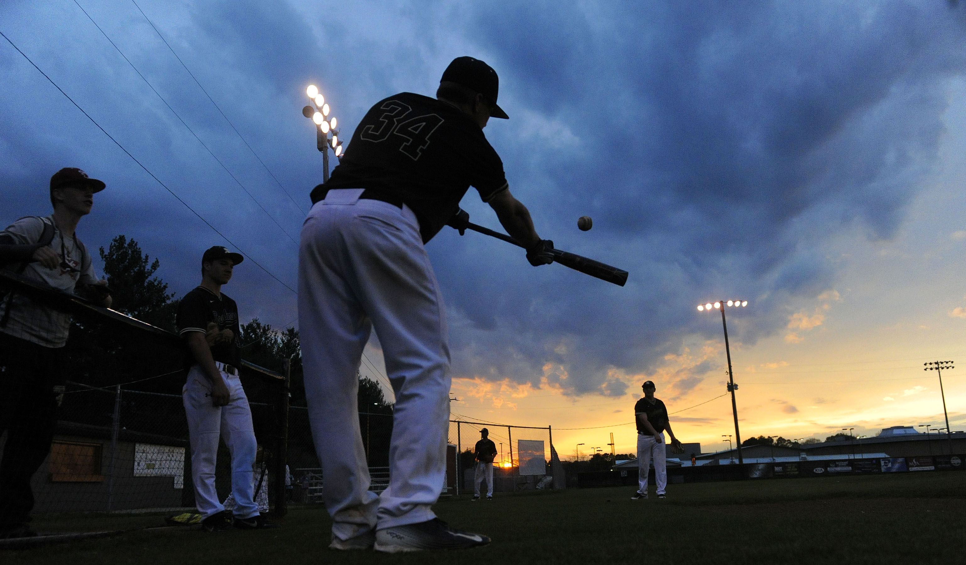 Baseball At Sunset
